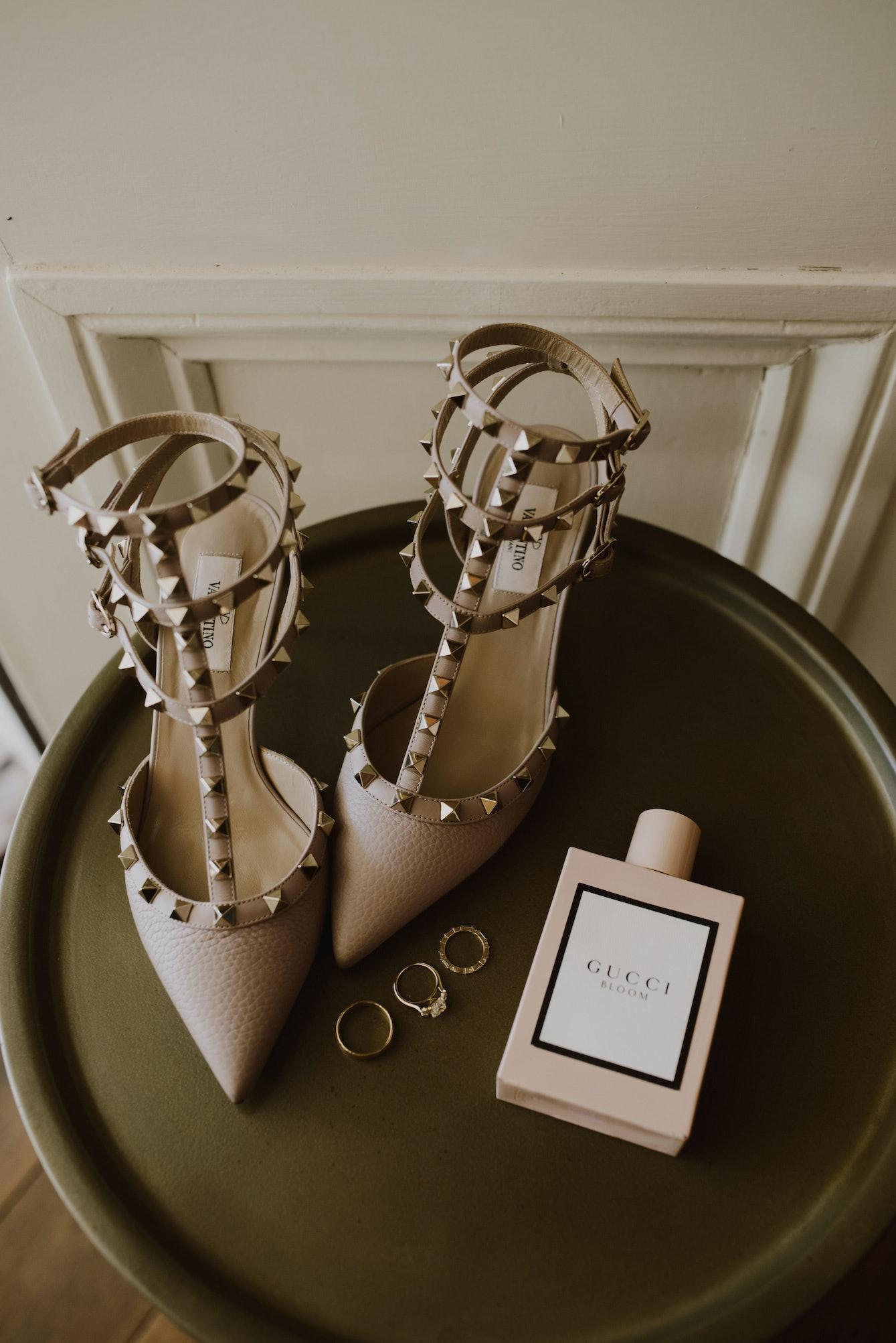 Valentino wedding shoes, perfume and wedding rings