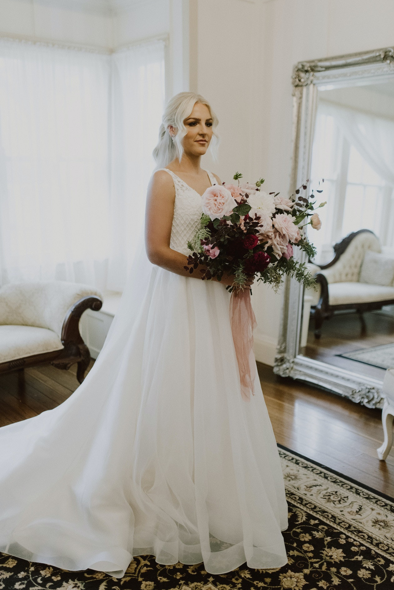 Bride getting ready in brides retreat