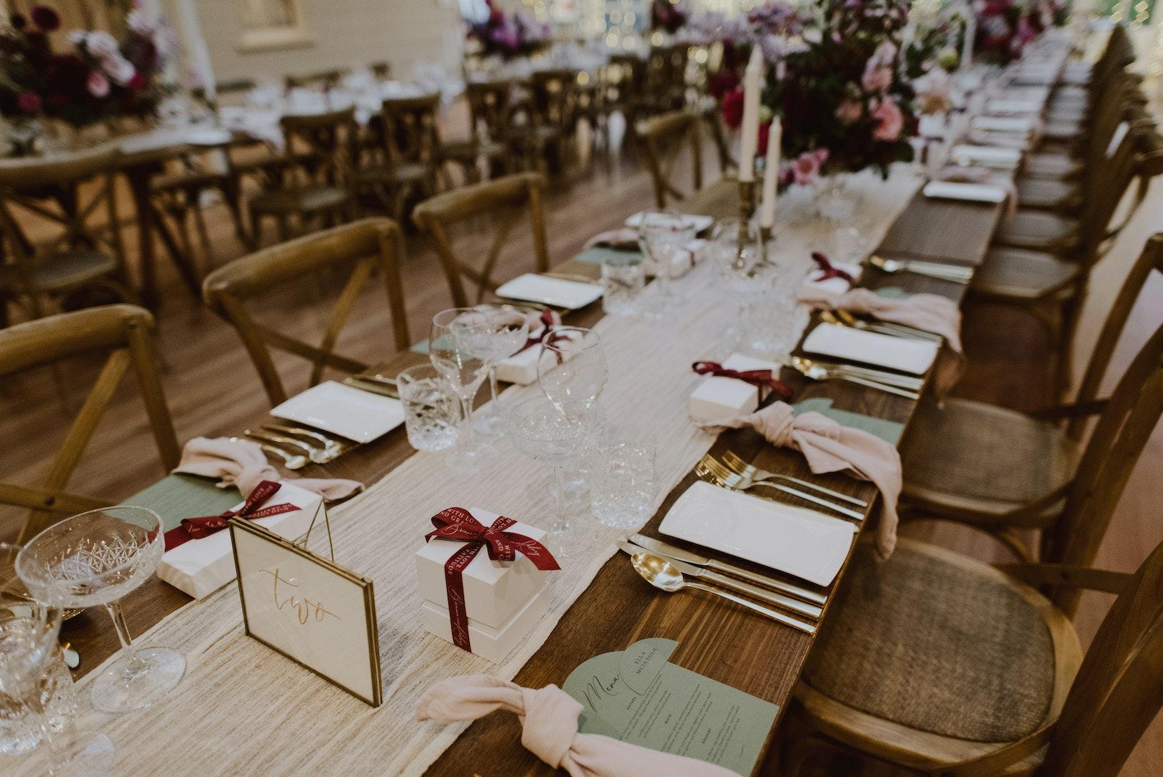 Bride and groom reception tables