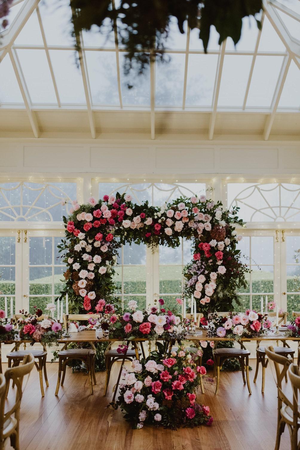 Floral arbour at reception
