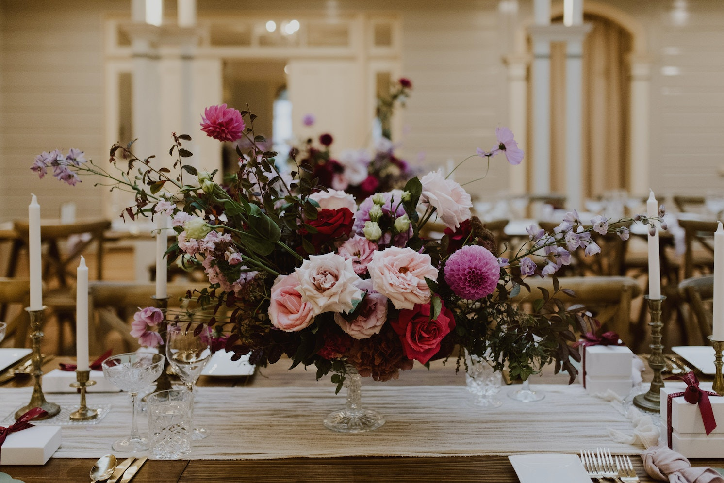 Floral bouquet on table