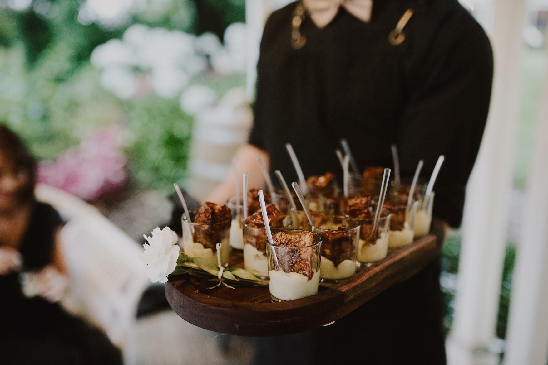 Canapés served on wooden tray