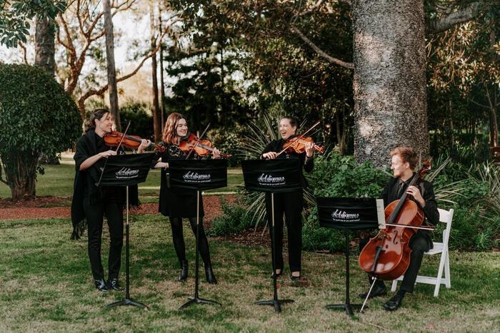 String quartet playing in garden