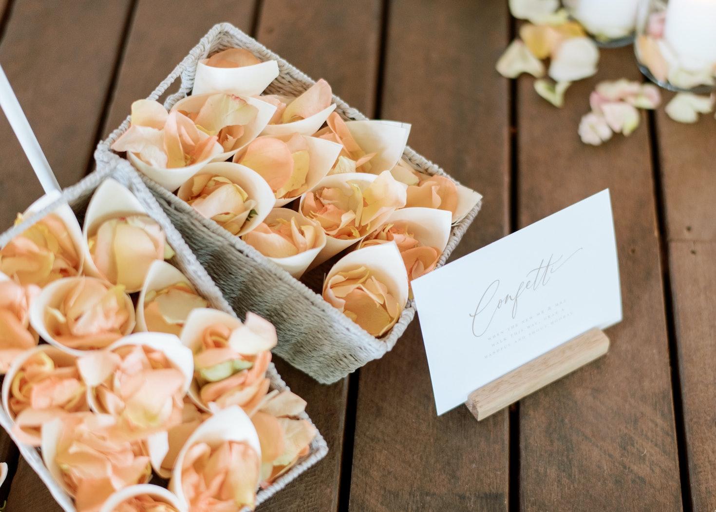Flower petals for confetti