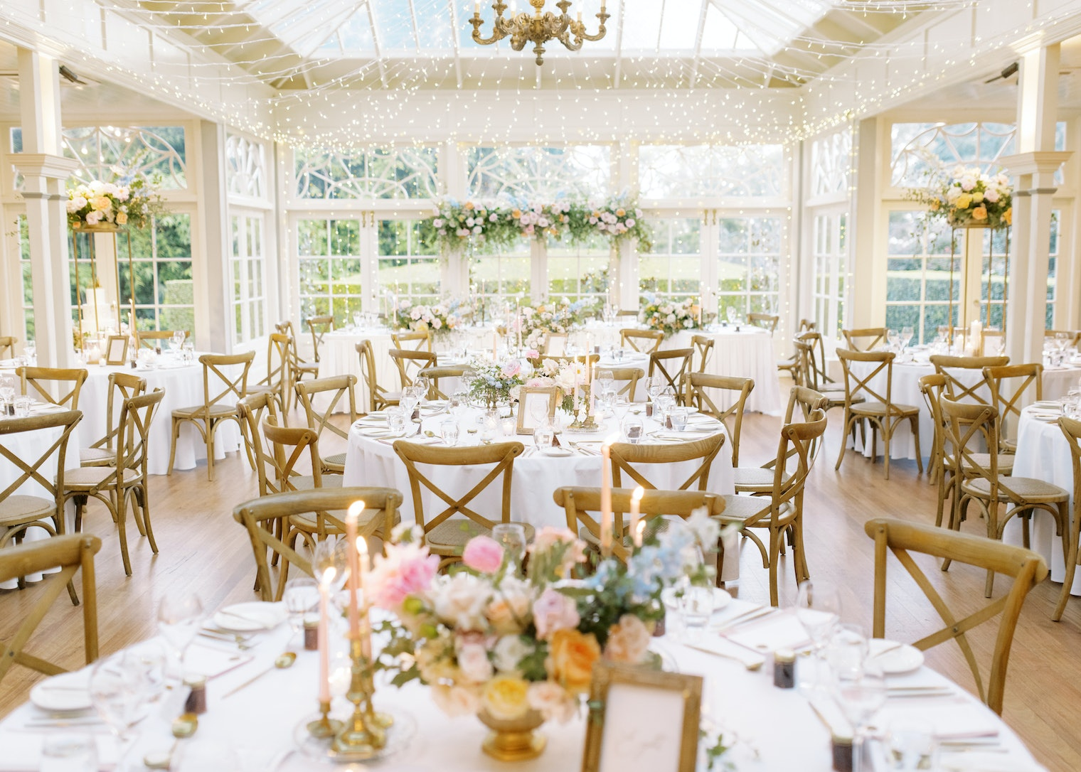 Wedding reception with flowers and fairylights