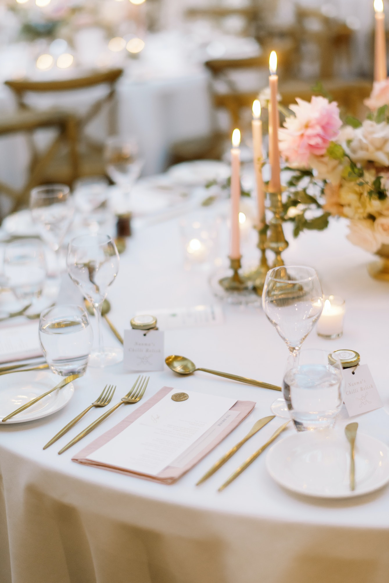 Wedding reception table menus and place settings