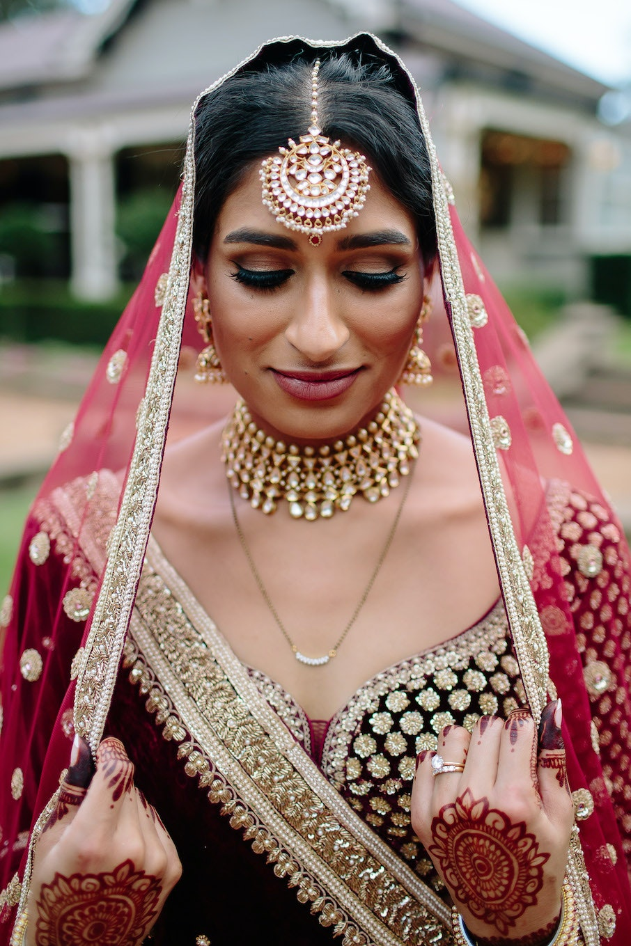 Indian bride with traditional headdress and jewellery