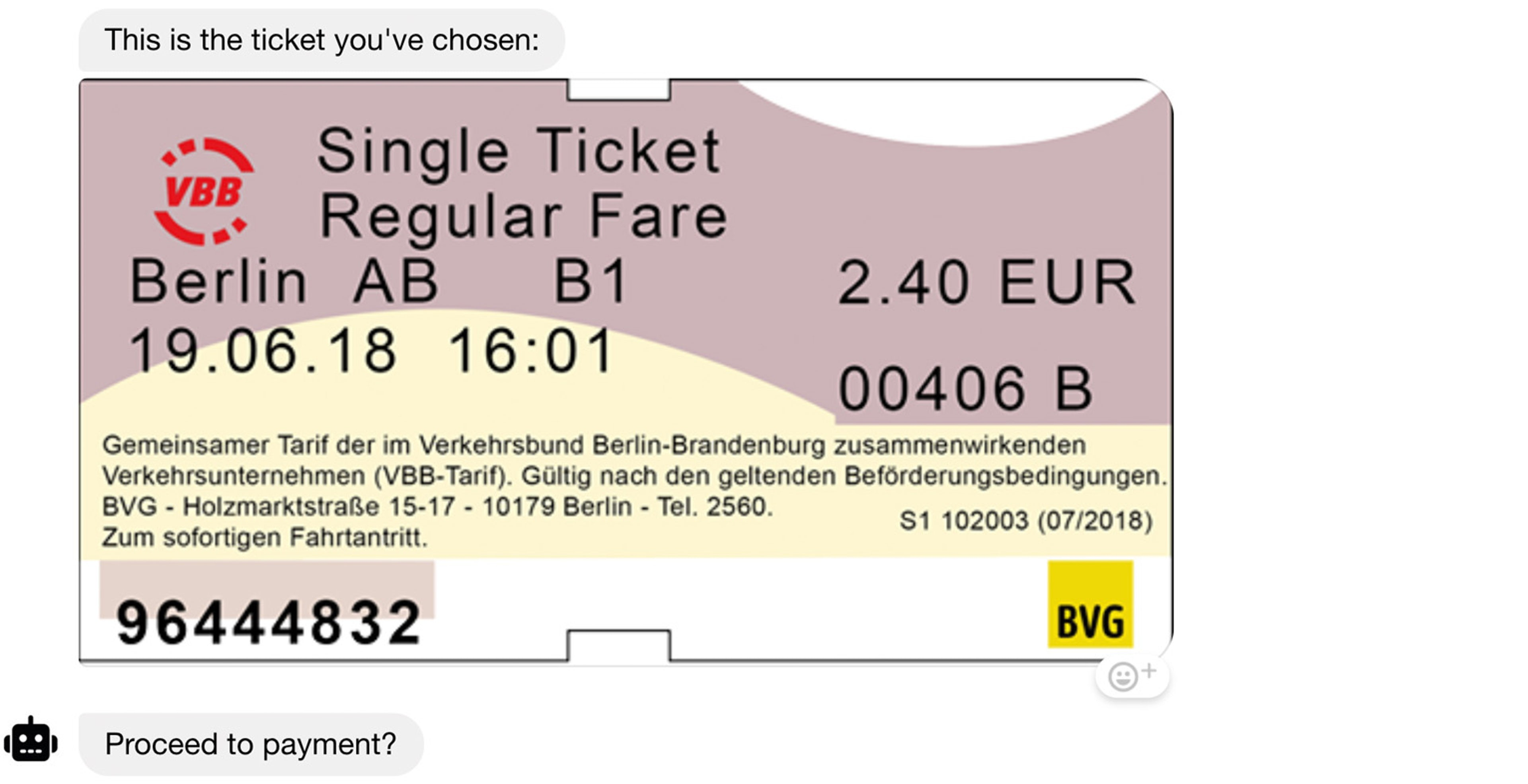 a visual representation of a train ticket helps users recognize immediately what is going on