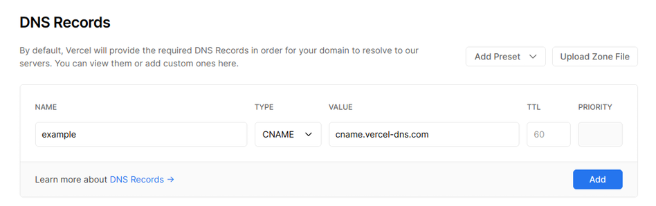 DNS UI - Editing CNAME Record | Tags: text, page, document