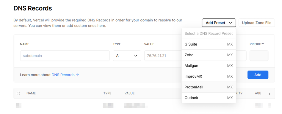 The preset dropdown in the DNS UI. | Tags: text, page