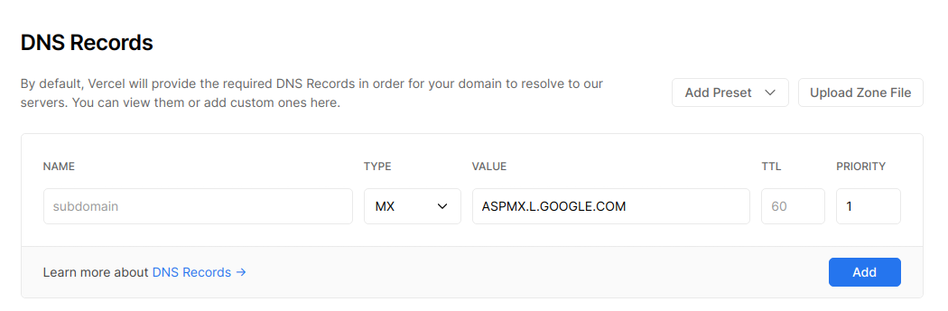 Adding a MX record to your domain. | Tags: text, page