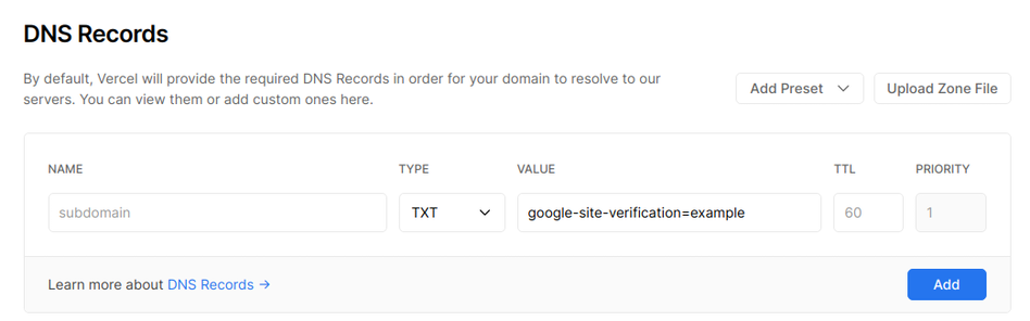 Adding a TXT record to your domain. | Tags: text, page