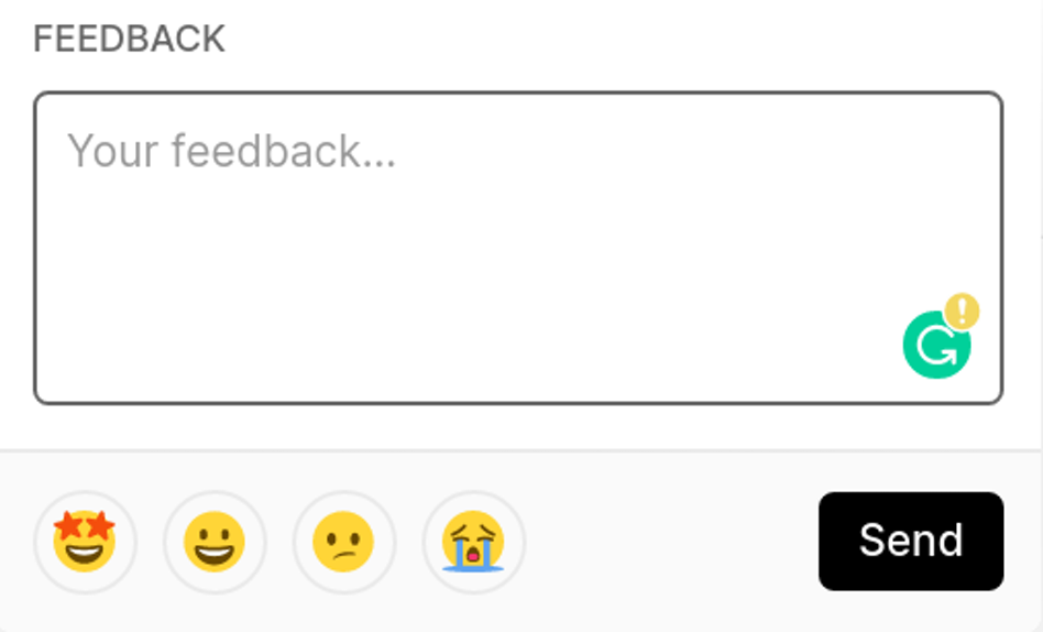 The feedback field when opened from a `vercel.com` page header. | Tags: text, page