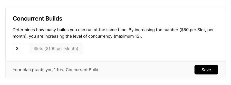 The Concurrent Builds fieldset, available from the Vercel Dashboard. | Tags: text, page