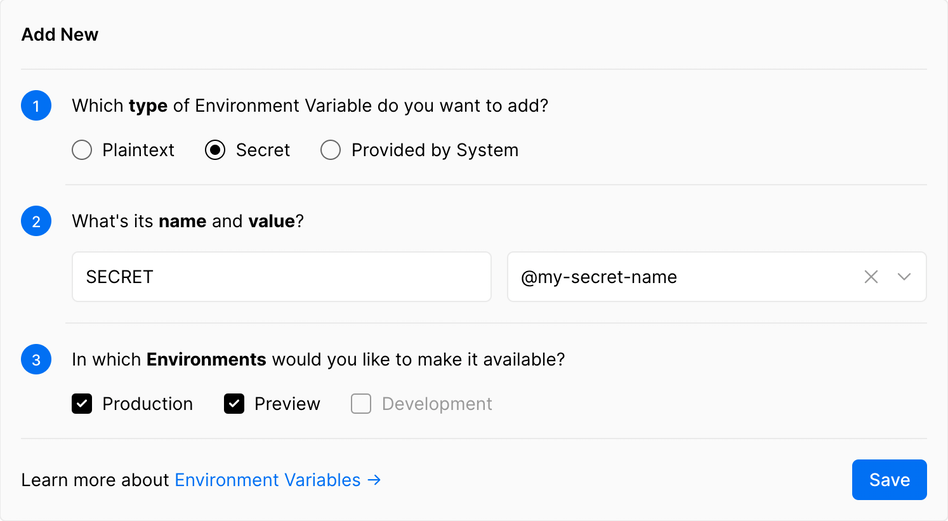 Adding a Secret Environment Variable. | Tags: text, page, document