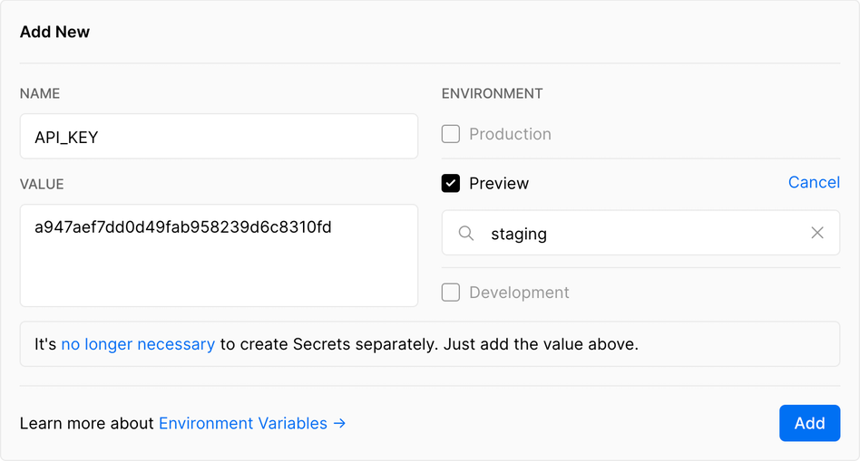 Adding a Preview Environment Variable to the staging branch.   Tags: text, page