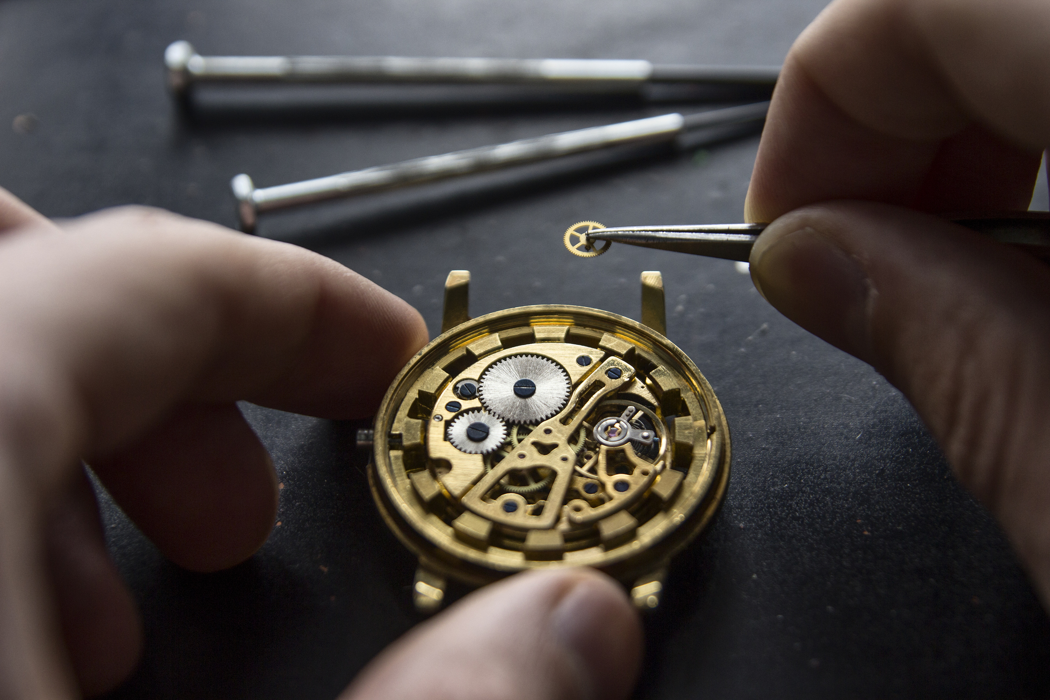 Man building luxury watch