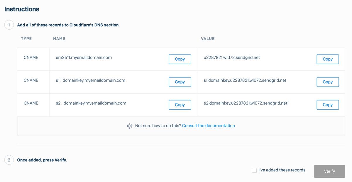SendGrid - DNS set up