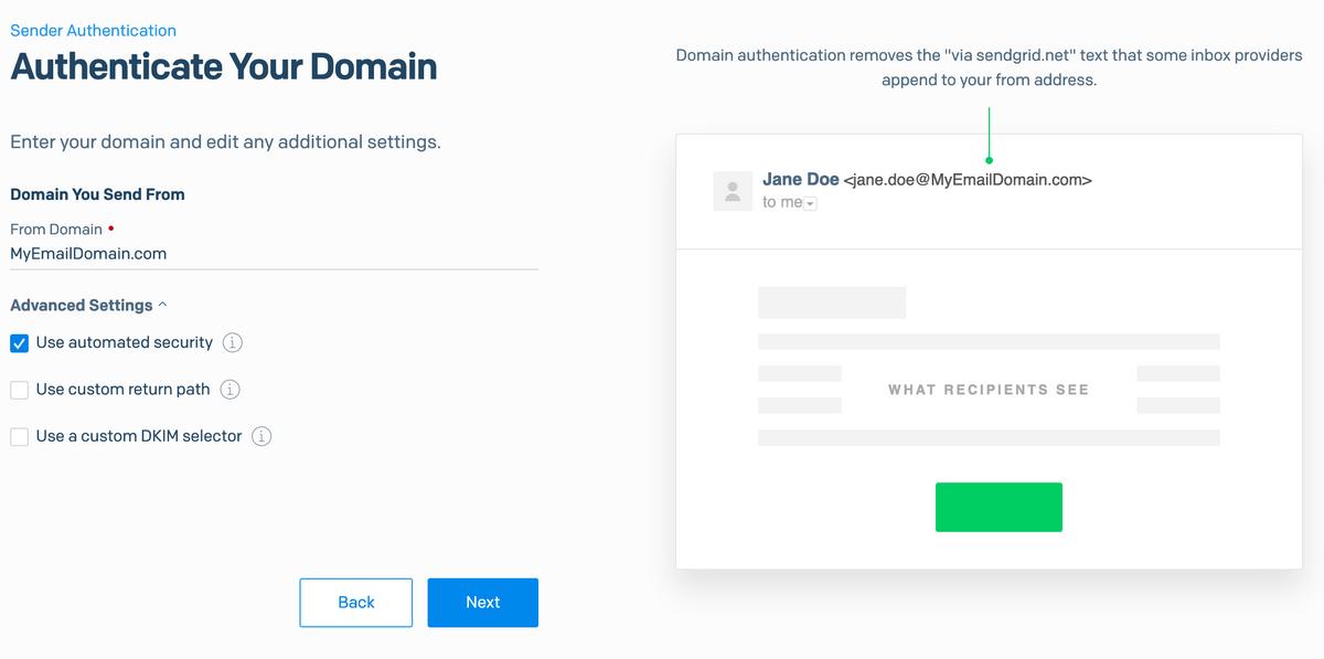 SendGrid - Domain Set up
