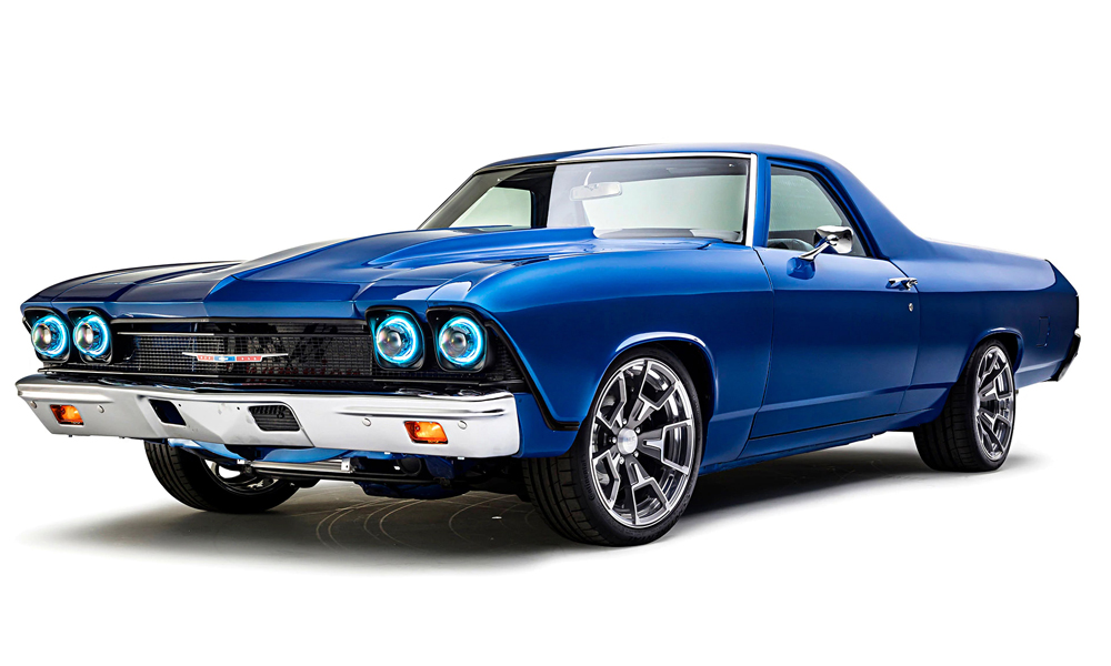 1968 El Camino featuring Universal Pro Series Low Back seats with SPORT-GT design in gray vinyl with black perforated vinyl accents, and blue contrast stitching. Includes matching center console, steering wheel, and door panels, dash pad, and carpet kit.