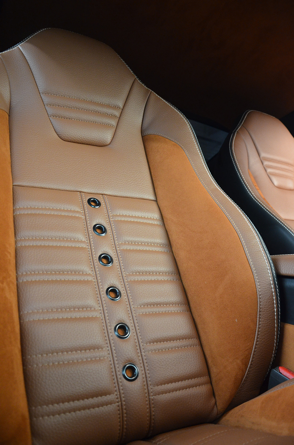 2003 Mustang featuring standard replacement SPORT-R500 upholstery in with black and gray vinyl and gray contrast stitching. Includes matching rear seat.