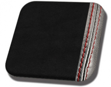 #99-RS Black UniSuede with Red Stitch
