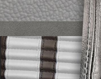 #972-7042-2305-WS Grey Vinyl -Graphite Suede - White Stripe & Stitch