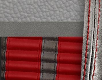 #972-7042-7300-RS Grey Vinyl -Graphite Suede - Red Stripe & Stitch