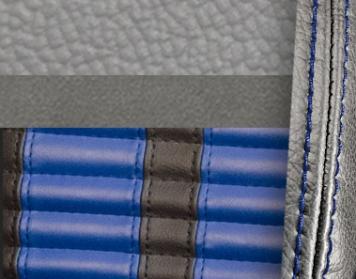 #972-7042-121-BS Grey Vinyl -Graphite Suede - Blue Stripe & Stitch