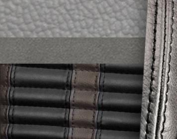 #972-7042-958-BKS Grey Vinyl -Graphite Suede - Black Stripe & Stitch