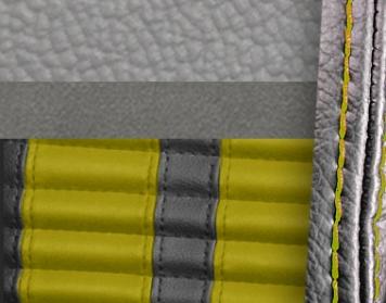 #972-7042-6526-YS Grey Vinyl -Graphite Suede - Yellow Stripe & Stitch