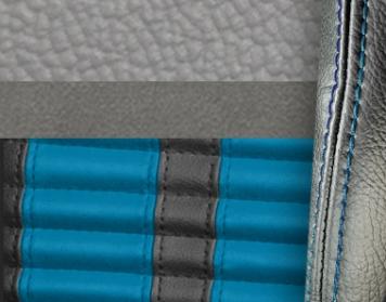 #972-7042-103-GBS Grey Vinyl -Graphite Suede - GrabberBlue Stripe & Stitch