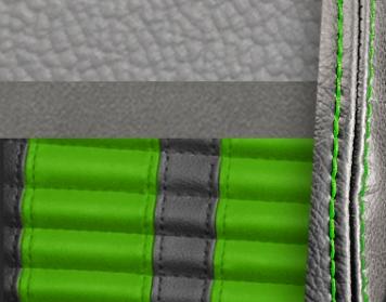 #972-7042-8835-GNS Grey Vinyl -Graphite Suede - Green Stripe & Stitch