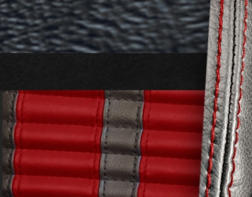 #958-99-7300-RS Black Vinyl - Black Suede - Red Stripe & Stitch