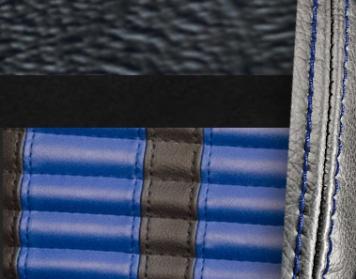 #958-99-121-BS Black Vinyl - Black Suede - Blue Stripe & Stitch