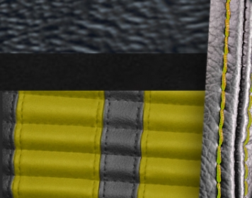 #958-99-6526-YS Black Vinyl - Black Suede - Yellow Stripe & Stitch