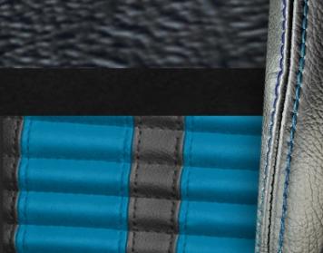 #958-99-103-GBS Black Vinyl - Black Suede - GrabberBlue Stripe & Stitch