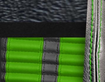 #958-99-8835-GNS Black Vinyl - Black Suede - Green Stripe & Stitch
