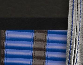 #6525-99-121-BS Charcoal Black Vinyl - Black Suede - Blue Stripe & Stitch