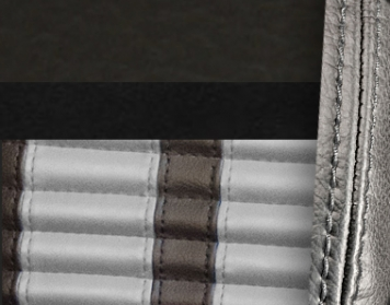 #6525-99-972-GS Charcoal Black Vinyl - Black Suede - Grey Stripe & Stitch