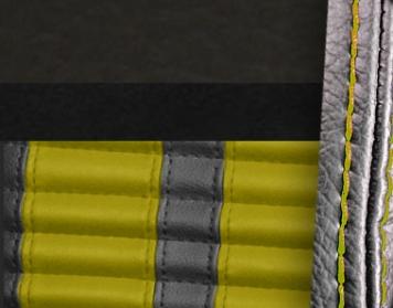#6525-99-6526-YS Charcoal Black Vinyl - Black Suede - Yellow Stripe & Stitch