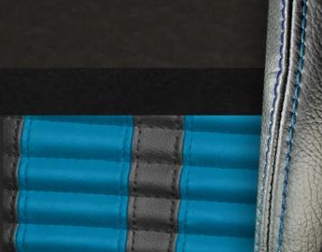 #6525-99-103-GBS Charcoal Black Vinyl - Black Suede - GrabberBlue Stripe & Stitch