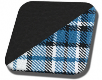 #6525-3415 Charcoal Black Vinyl with Blue Plaid Insert