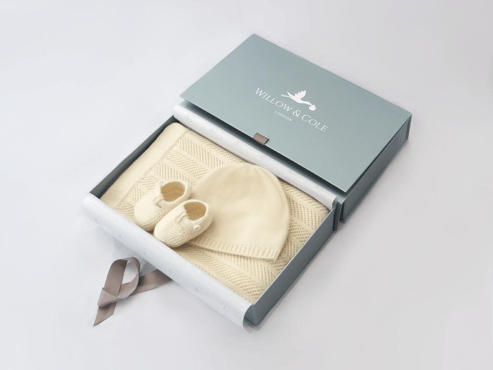 Cashmere Baby Blanket, Hat and Booties Bundle Set
