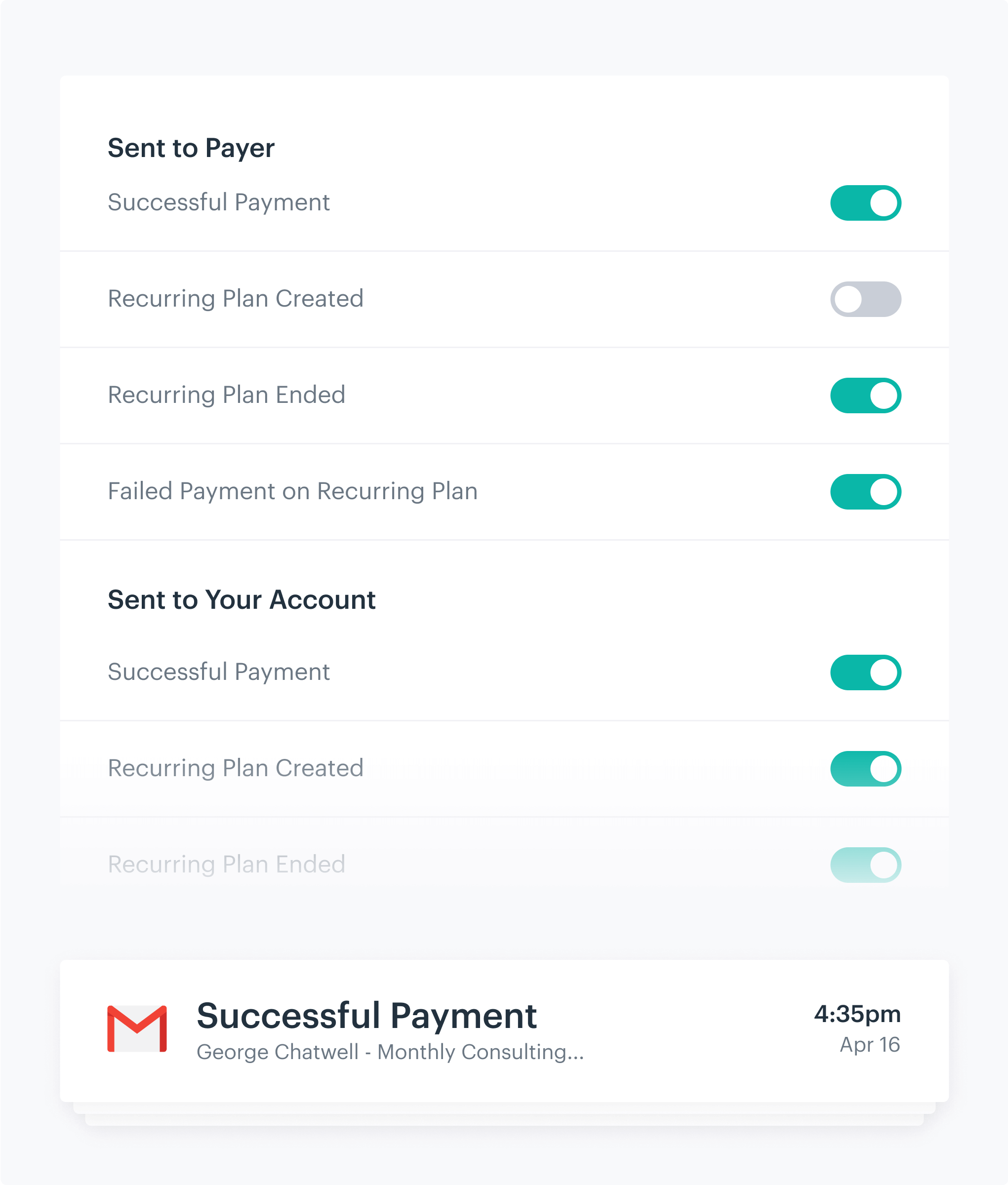 List of email notifications and toggles for turning them off and on
