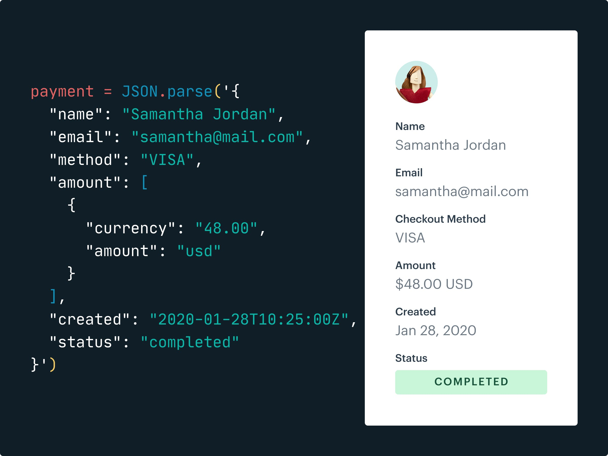JSON showing how you can pull data from MoonClerk with developer tools.