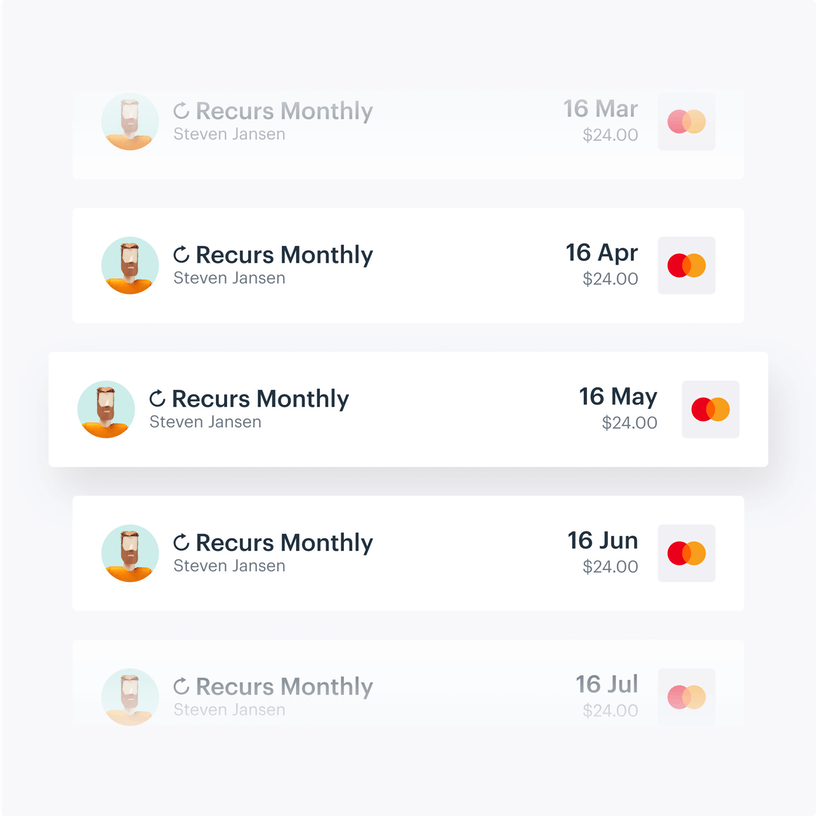 Recurring monthly payment cards from MoonClerk