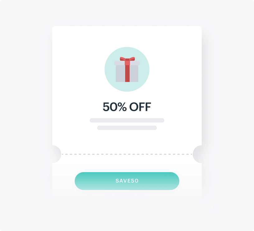 Coupon illustation showing 50% and a code.