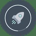 Rocket with loading progress indicator