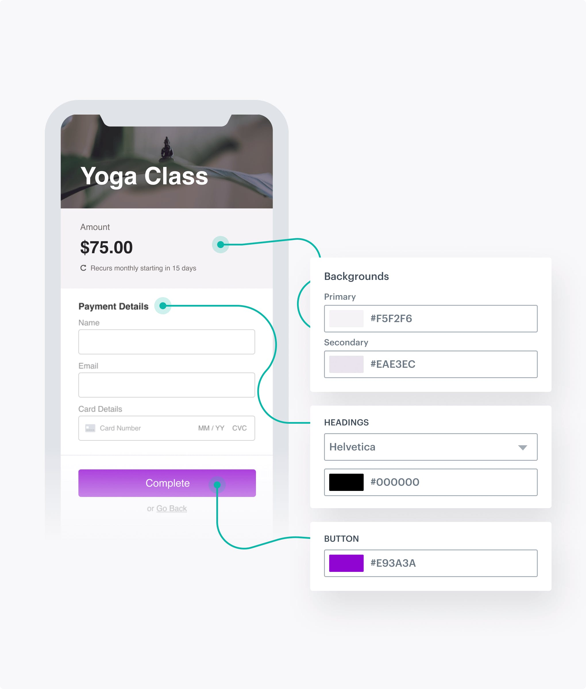 MoonClerk checkout form connected to floating fields showcasing the ability to edit the form design